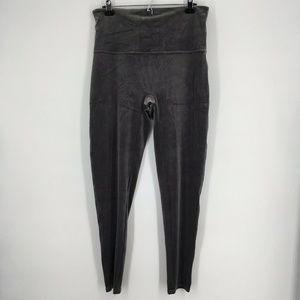 Spanx Leggings Pants Gray Velvet Tummy Control